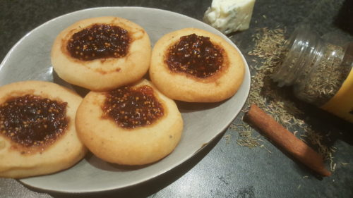 Circular Thyme Blue Cheese Cookies with Fig Jam in the Center